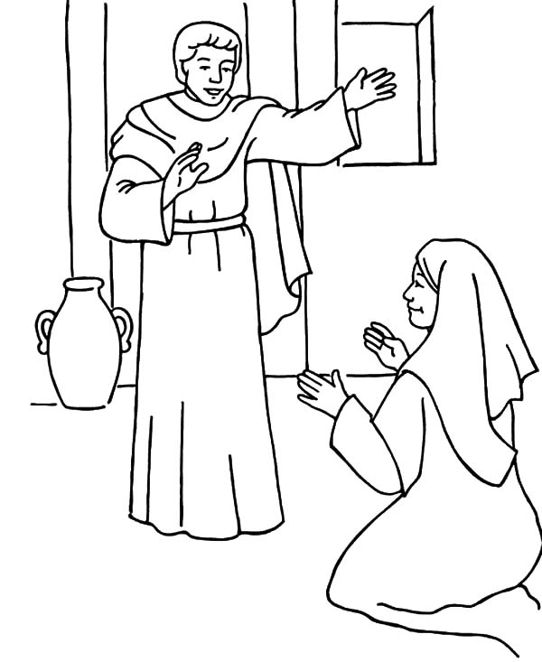 the angel appears to mary and give her the blessing coloring