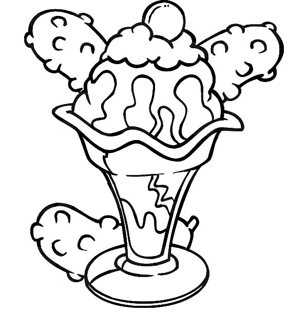 drawing a bowl of ice cream coloring pages bulk color