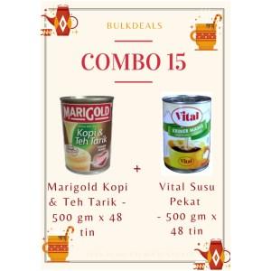 COMBO 15 – Marigold Kopi & Teh Tarik 500 gm x 48 tin + Vital Susu Pekat (Sweetened Creamer) 500 gm x 48 tin