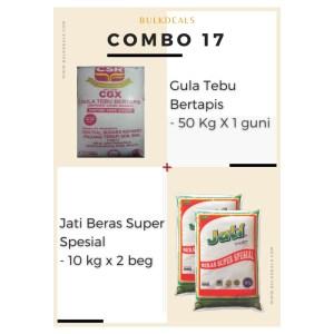 COMBO 17 – Gula Tebu Bertapis (Refined Cane Sugar) 50 Kg x 1 guni + Jati Beras Super Spesial 10 kg x 2 beg