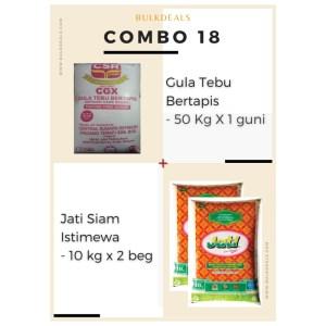 COMBO 18 - Gula Tebu Bertapis (Refined Cane Sugar) 50 Kg x 1 guni + Jati Siam Istimewa 10 kg x 2 beg