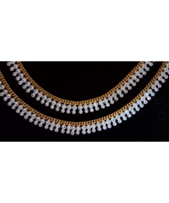 Golden Double Line Stone Anklet