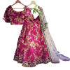 Pink Embroidered Free Size Semi Stitched silk Lehenga With Unstitched Blouse