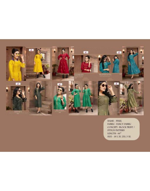 Rs 512 Pc Fly Free Pixel Stitched Kurti Wholesale Catalog 06 pcs
