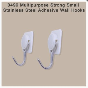 0499 Multipurpose Strong Small Stainless Steel Adhesive Wall Hooks - Bulkysellers.com