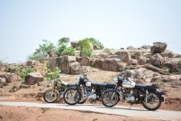 Bulleteers during their breakfast ride to Datia Palace, in Datia, Madhya Pradesh