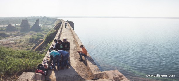 Panorama of the tighra dam, with all the bulleteers busy in cooking breakfast. The water level looks good