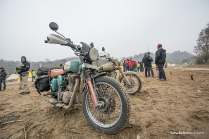 A loaded and dirty Royal Enfield looking just the way it is mean to, at the Rider Mania 2015