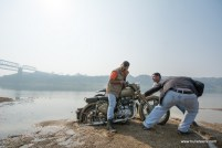 A Royal Enfield Desert Storm stuck in wet sand