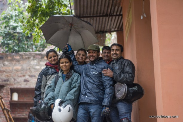 the bulleteers who showed up for the ride to kanher jhiri on the rainy morning