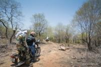 bulleteers ride to see the cave paintings in likhichhaj in pahadgarh, madhya pradesh