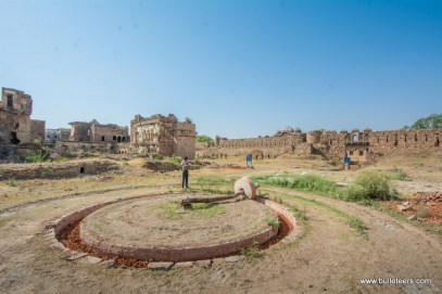a mill to grind paste for renovation work being carried out at gohad fort by ASI