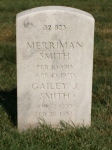 Merriman Smith's headstone at Arlington National Cemetery. He shares the grave site with his wife and his son, who died in Vietnam in 1966.
