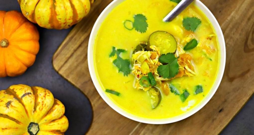 A bowl of keto chicken soup