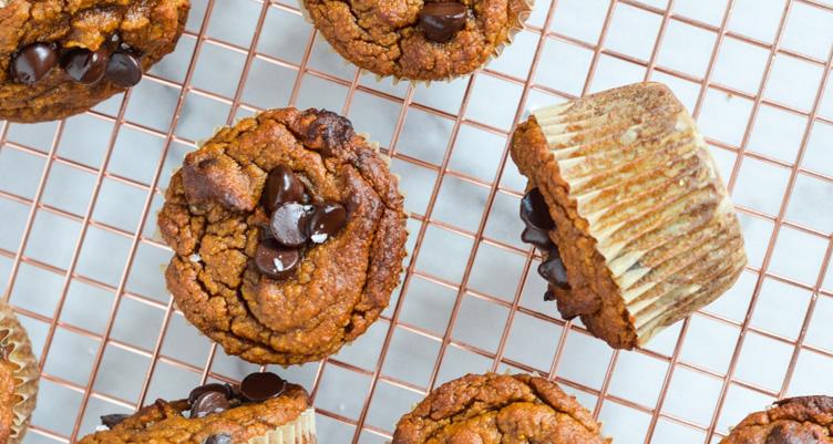 Paleo pumpkin muffins on copper rack