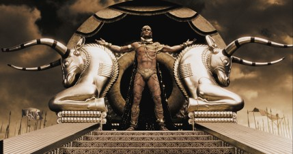 "Xerxes (RODRIGO SANTORO), the Persian king who claims to be a god, stands atop his elaborate golden litter in Warner Bros. Pictures', Legendary Pictures' and Virtual Studios' action drama ""300,"" distributed by Warner Bros. Pictures. PHOTOGRAPHS TO BE USED SOLELY FOR ADVERTISING, PROMOTION, PUBLICITY OR REVIEWS OF THIS SPECIFIC MOTION PICTURE AND TO REMAIN THE PROPERTY OF THE STUDIO. NOT FOR SALE OR REDISTRIBUTION"