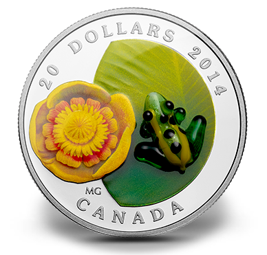 2014 - $20 Fine Silver Coin - Water-lily and Glass Leopard Frog