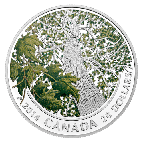 2014 - $20 1 oz. Fine Silver Coin - Spring Maple Canopy - Paint on engraving