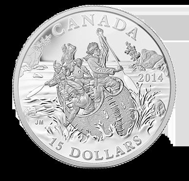 2014 - $15 Fine Silver Coin - Canada Explores, 1 of 10 - The Voyageurs