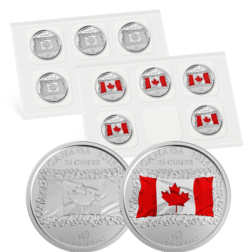 2015 - Canadian Flag - 25 Cent Circulation Coin Pack - 50th Anniversary of the Canadian Flag