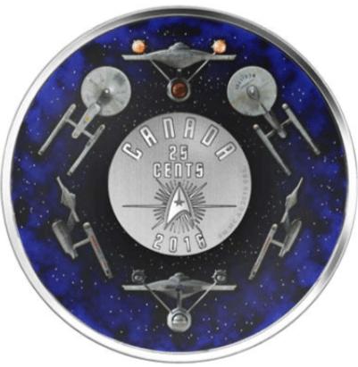 2016 - 25-Cent Colored Coin- Star Trek Enterprise