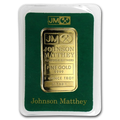 1 Oz Johnson Matthey Gold Bar in Assay