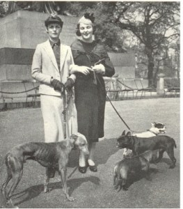 Deborah and Jessica Mitford with sister Nancy's French Bulldogs, Lottie and Dominic