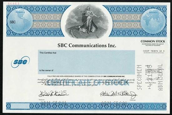 SBC Communications Inc Specimen Stock Certificate