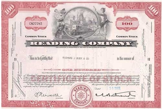 Reading Company Railroad Stock Certificate