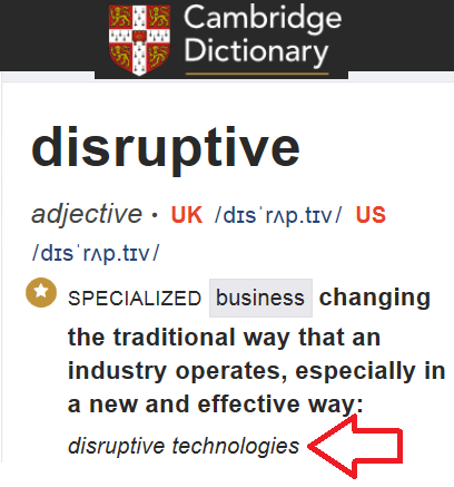 Il vocabolo disruptive secondo Cambridge