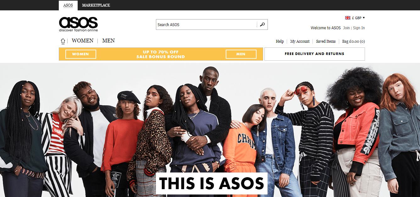 La home page di Asos