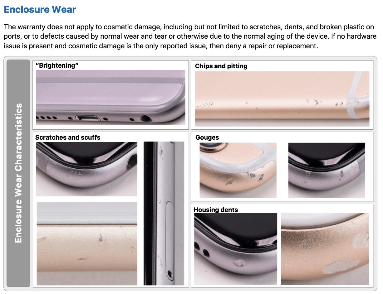 Le indicazioni su come gestire i danni cosmetici degli iPhone quando sono portati presso un Aple Store