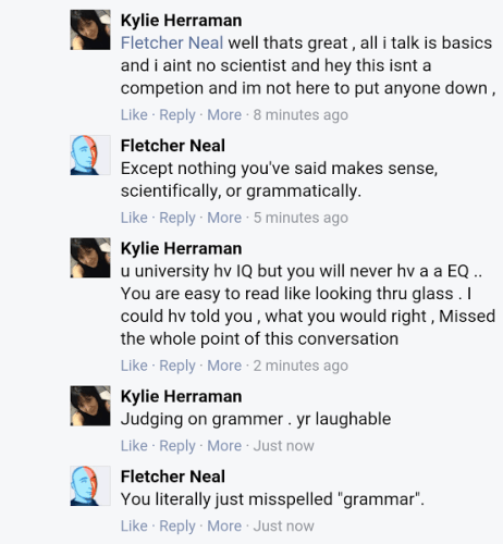 This conversation is real, names have not been changed to protect the innocent... or ignorant
