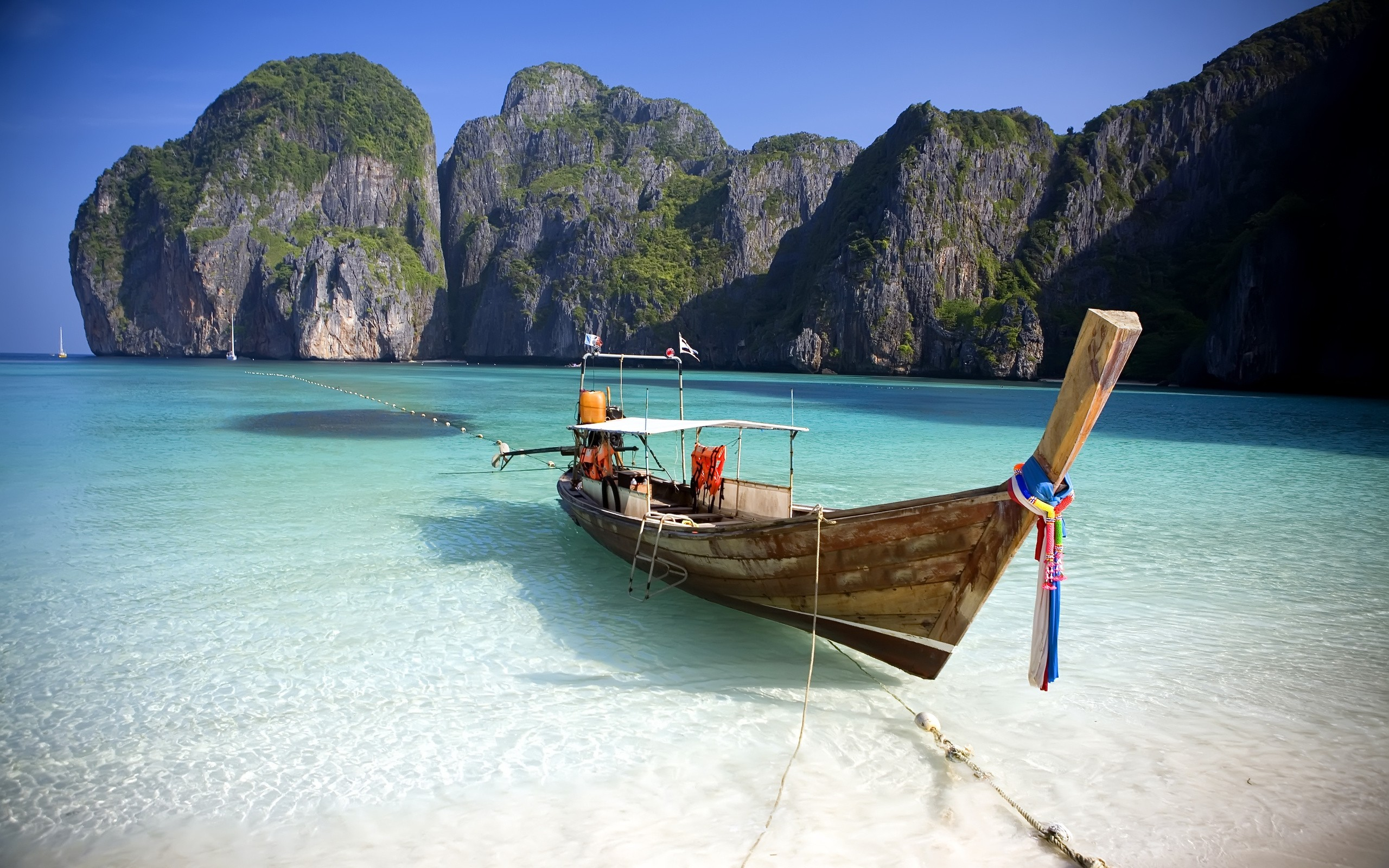thailand nature sea boat hd wallpaper Ocean Boot Rocks Beach ...