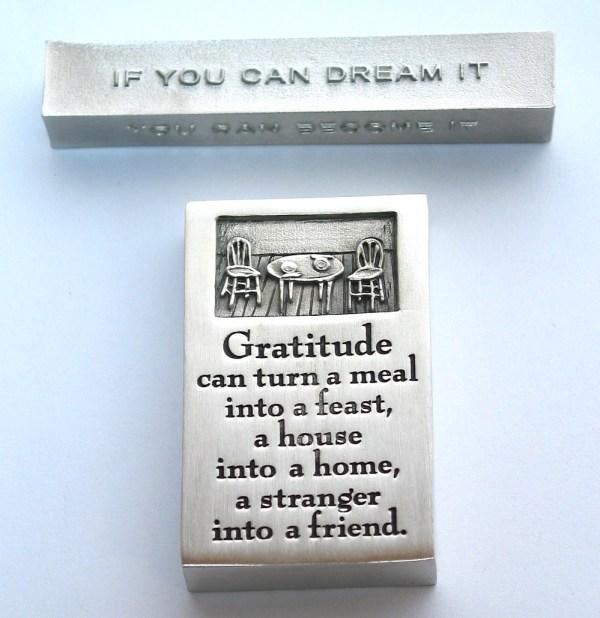bumbleBdesign - paperweight boxes - gratitude paperweight (bottom) + achieve-dream-become paperweight