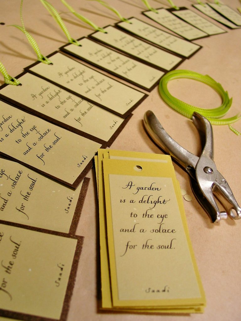Italic calligraphy for bookmarks