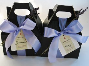 Black gift boxes with custom tags