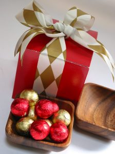 Eco-friendly acacia bowl with Belgian holiday chocolates