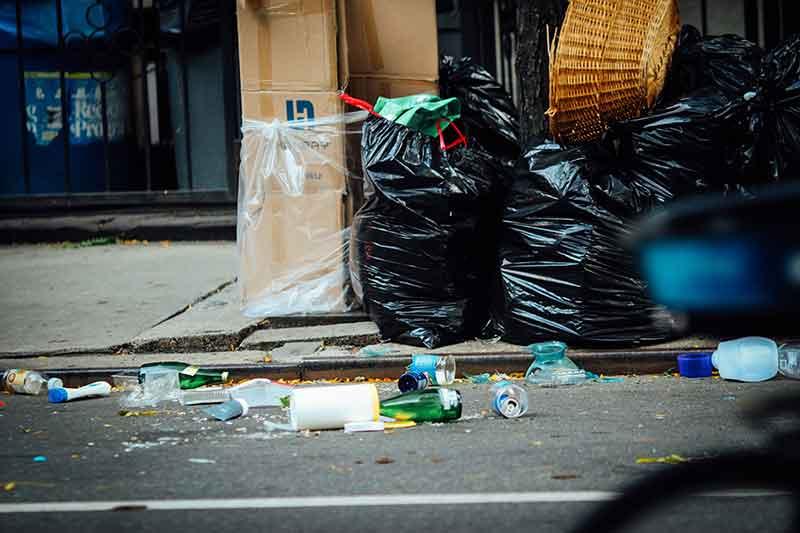Litter junk on Burbank, CA street