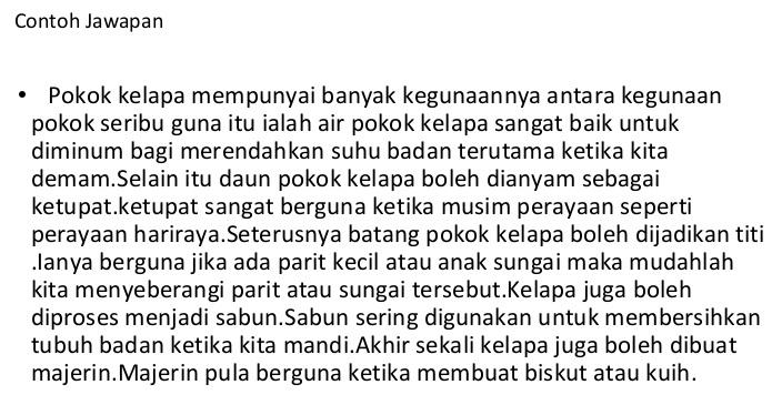 Contoh Jawapan Bahasa Melayu Penulisan UPSR: Bahagian B (2
