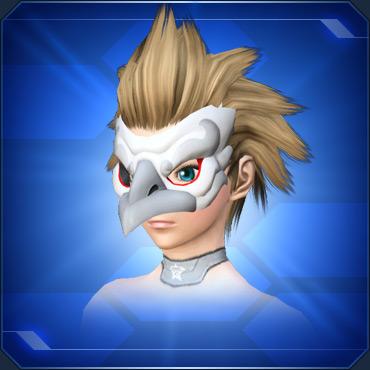 白カラステングの面BWhite Crow Tengu Mask B