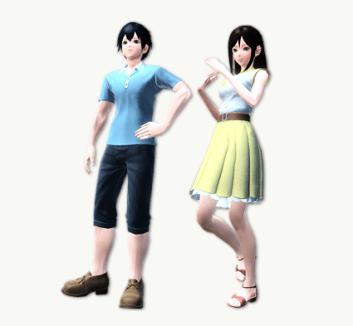 Civilian Itsuki and Rina Render