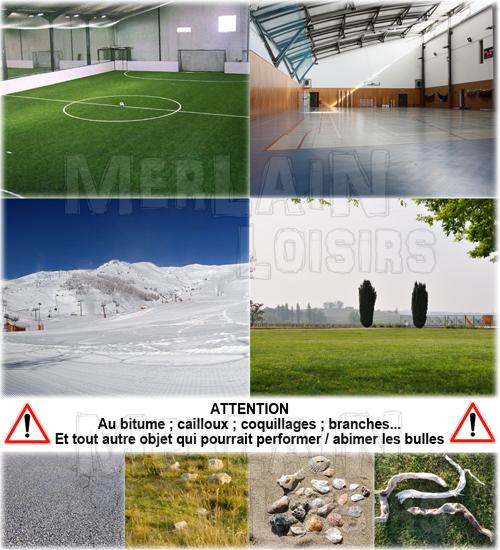 surface utilisation bumper ball bubble gazon, herbe, neige, gymnase
