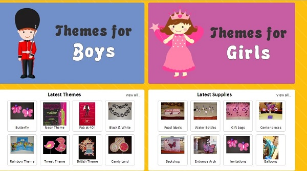 customized party theme supplies