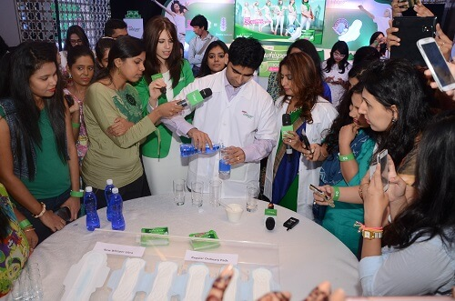 whisper sanitary pads event