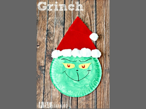 Christmas crafts for kids paper plate grinch