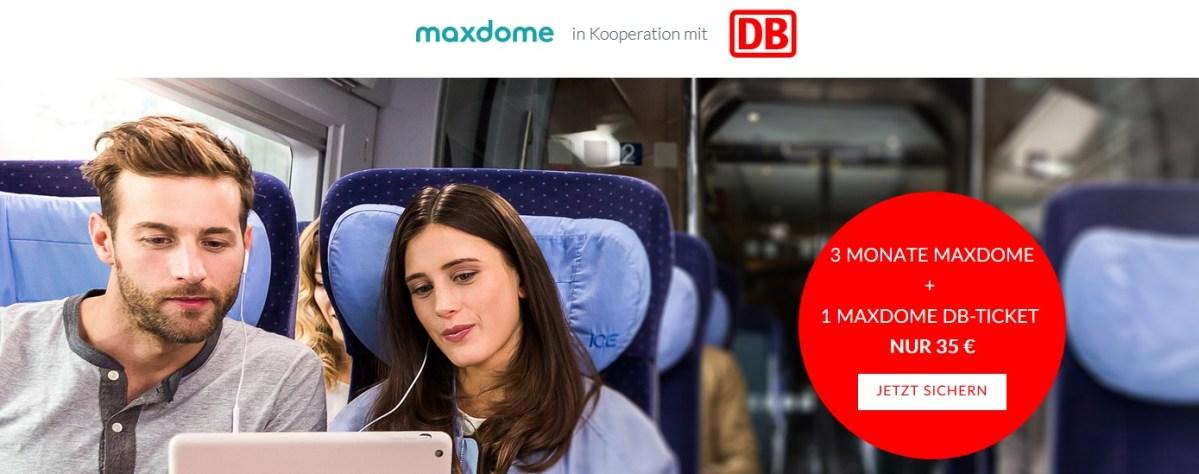 maxdome bahn.de deutsche bahn db aktion promo sale