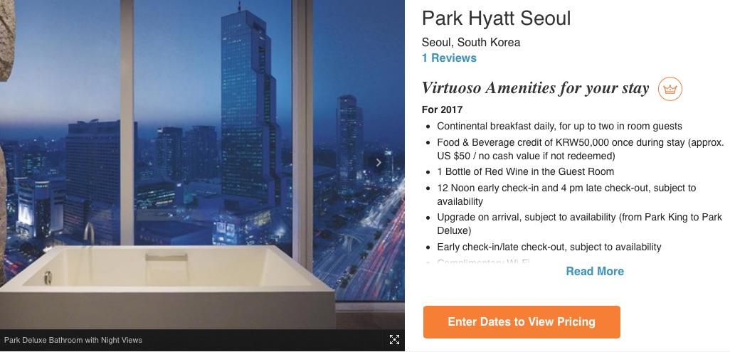 luxus virtuoso booking booking.com hotels.com classictravel cube-travel park hyatt seoul benefits
