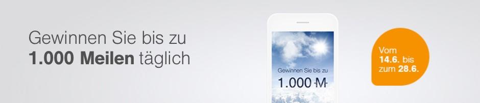 Jubel-Juni bei Miles & More: ab 14. Juni in der App täglich bis zu 1.000 Meilen gewinnen