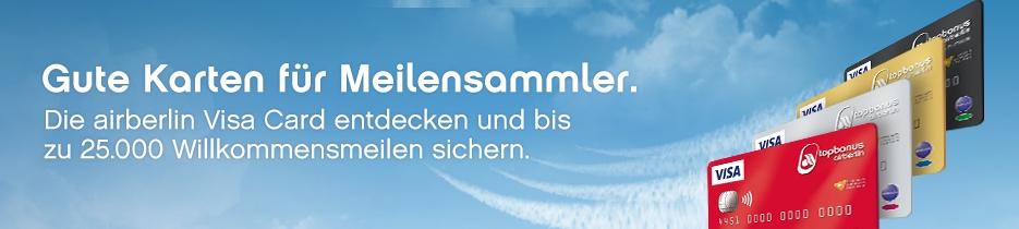 25.000 Meilen Willkommensbonus | Air Berlin Kreditkarte